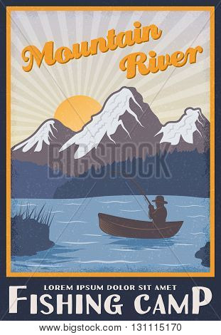 Fishing camp near mountain river poster with man on boat at sunrise or sunset vector illustration