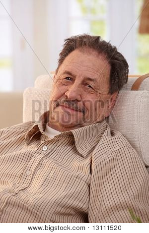 Portrait of senior man resting in armchair at home, looking at camera.?