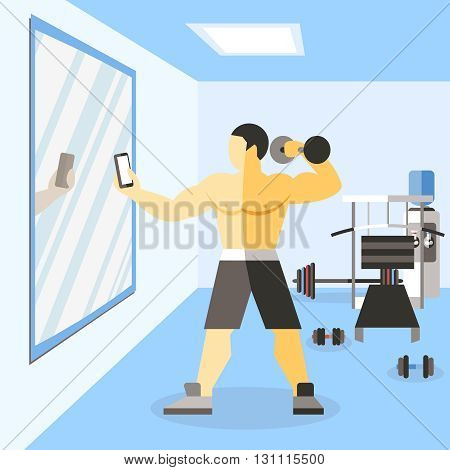 Bodybuilder narciss poster man on training in gym doing selfie with dumbbells for social networks vector illustration
