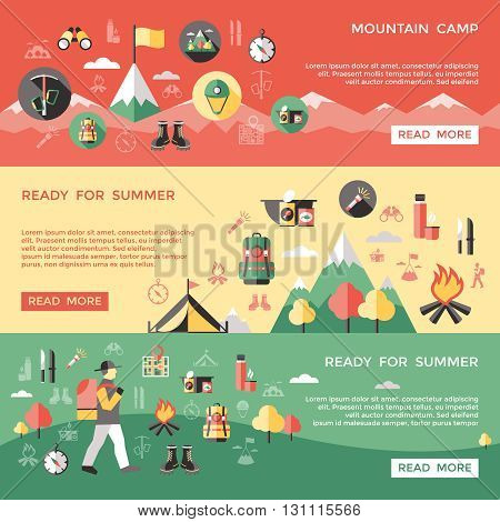 Mountaineering horizontal banners set with nature tent camp food climber thermos flashlight backpack map isolated vector illustration