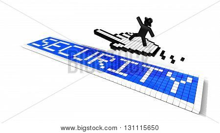 Black hat hacker surfs on hand cursor icon over pixelated security sign 3D illustration