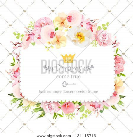 Square floral vector design frame. Orchid wild rose camellia flowers and fresh green leaves. Feminine summer decoration. Simple backdrop with diagonal lines and small princess crowns.