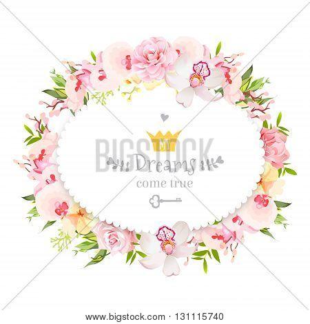 Oval floral vector design frame. Orchid rose camellia flowers and fresh green leaves. Feminine summer decoration.