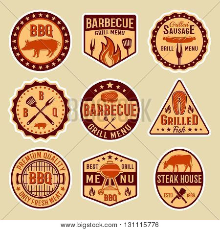 Barbecue vintage style emblems on beige background with grill forks knives spatulas steak sausage isolated vector illustration