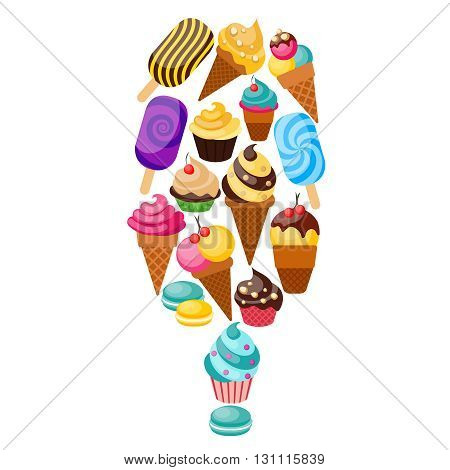 Sweets cupcakes composition consisting of the icons set with sweets and ice cream collected as a big ice lollies vector illustration