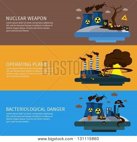 Three horizontal environmental pollution colored banner set with titles of nuclear weapon operating plants bacteriological danger vector illustration