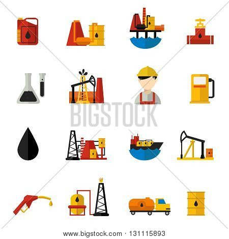 Oil industry icons flat set with description of elements of crude oil production workers and tools vector illustration