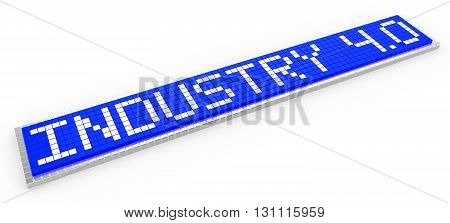 Industry 4.0 3D illustration blue sign composed of little cubes pixel design