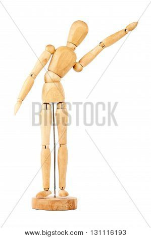 Wooden dummy with raised hand isolated on a white background
