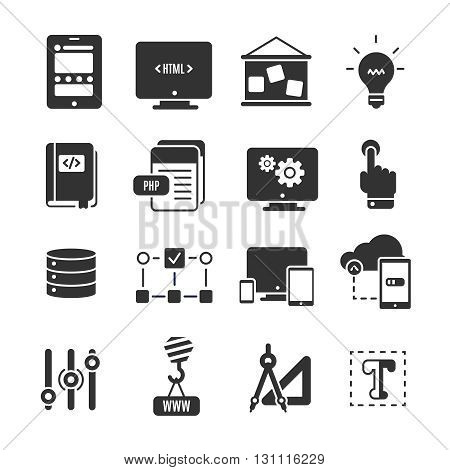 Black icon set of programm development with elements of technology in web development and scripting vector illustration