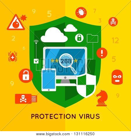 Data protection flat poster with many different icons on protection theme and headline protection virus at the bottom vector illustration