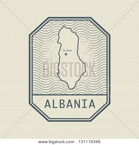 Stamp with the name and map of Albania, vector illustration