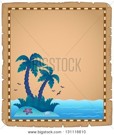 Parchment with tropical island theme 2 - eps10 vector illustration.