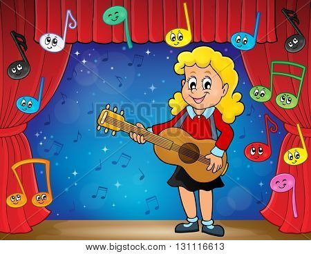 Girl guitar player on stage theme 2 - eps10 vector illustration.