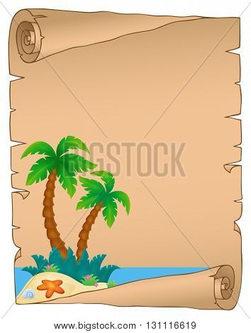 Parchment with tropical island theme 3 - eps10 vector illustration.