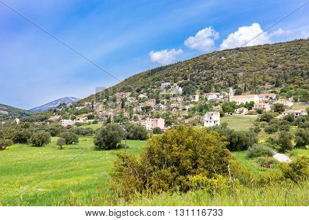 Landscape village with houses in Greek valley of Kefalonia in spring