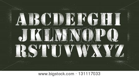Vector illustration of white stencil spray alphabet in old army style