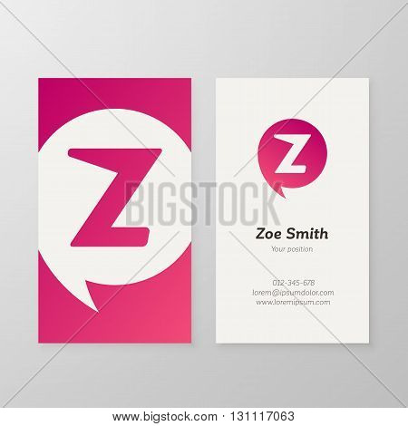 Modern letter Z in speech bubble Business card template. Vector business personal card design. Layered editable.