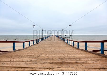 marine pier of Palanga on a cloudy autumn weather Lithuania