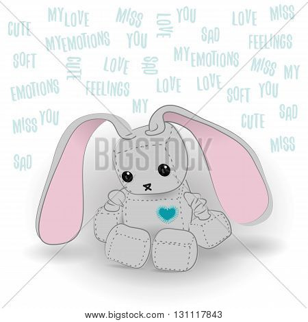 Cute felt bunny robot plush toy with heart Valentines Day miss you a day sitting. Sad robot robot illustration on a light background lettering