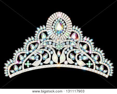 illustration vector crown diadem tiara women with glittering precious stones