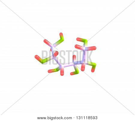 Sorbitol also known as glucitol is a sugar alcohol with a sweet taste which the human body metabolizes slowly. 3d illustration