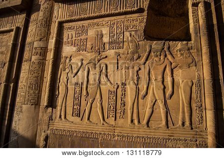 Egypt reliefs on walls in ancient temples