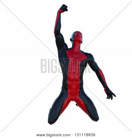 one young man in the red and black superhero costume. Fist raised in the sky. 3D rendering, 3D illustration