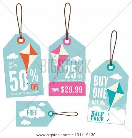 A set of retail price tags with a kite theme