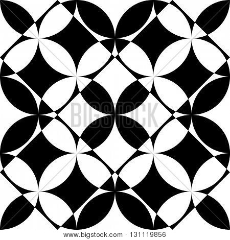Seamless Square and Circle Pattern. Abstract Black and White Background. Vector Regular Texture. Monochrome Geometric Ornament