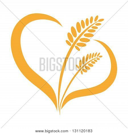 Ears of wheat isolated heart on a white background. Barley, rye. Vector illustration.