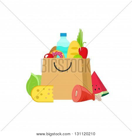 Grocery bag vector illustration isolated on white, paper bag of groceries flat cartoon, fresh food and drink products shopping bag, organic healthy products