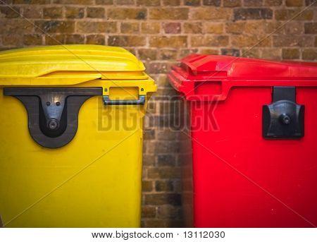 Wheely bins on display in a london market