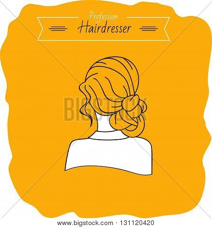 Girl with hairstyle. Back view. Silhouette on a yellow background