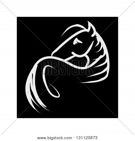 Symbolic image of a horse with a long mane. Abstraction on black background vector. The pattern of lines in the form of a horse.