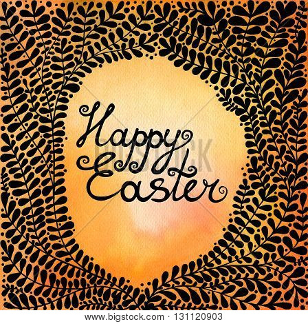 Happy Easter. Abstract background with black beautiful branches. Floral background for invitations, covers, postcards and ect.