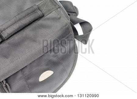 select focus front black camera bag on white background