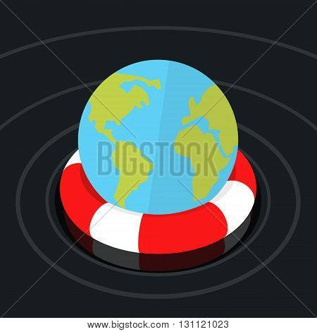 Concept of environmental protection. Globe Earth in lifebuoy. Flat design, vector illustration.
