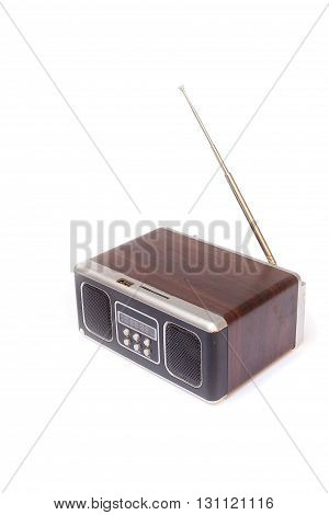 Minispeaker - FM receiver. Audio box painted wood amplifier and MP3 player
