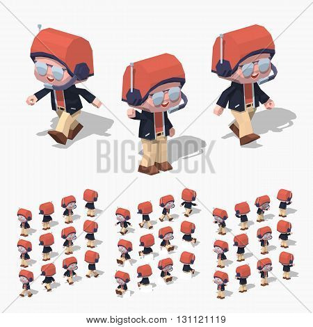 Pilot. 3D lowpoly isometric vector illustration. The set of objects isolated against the white background and shown from different sides