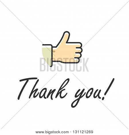 Thank you note text vector illustration isolated on white, thumb up hand icon with handwritten thank you text