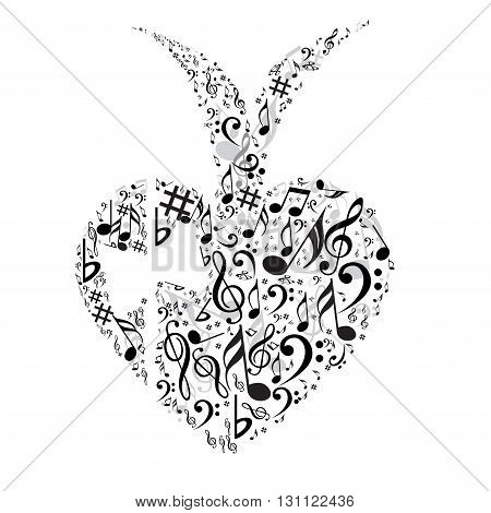 Creative heart symbol with different music symbols