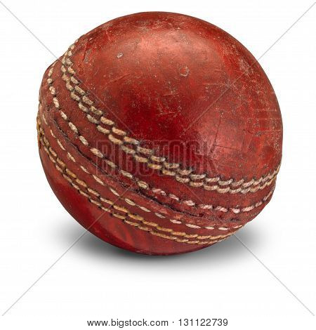 Old worn Cricket Ball on black background with shadow