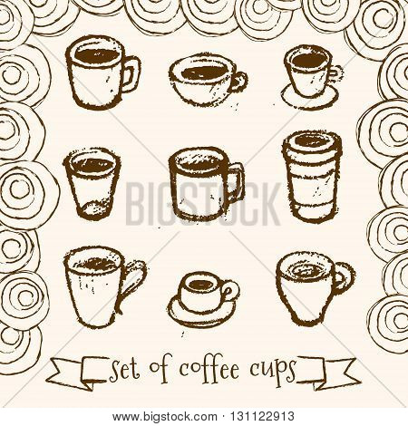 Set of hand drawn tea and coffee cups on white background.