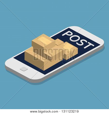 Isometric Smartphone and envelopes. Delivery Post Concept, Express Post. Flat 3d vector illustration. Email marketing.
