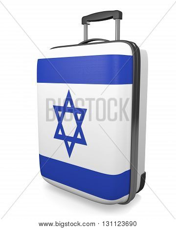 Israel vacation destination concept of a flag painted travel suitcase, 3D rendering