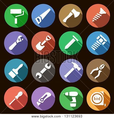 Vector illustration. Set of round flat simple icons work tools with shadow effect
