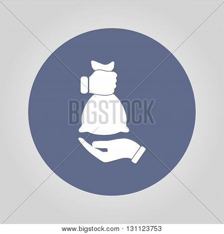 hand and bag icon. Modern design flat style icon.