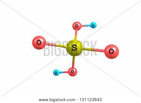 Sulfuric acid or sulphuric acid is a highly corrosive strong mineral acid with the molecular formula H2SO4. It is a pungent-ethereal colorless to slightly yellow viscous liquid which is soluble in water at all concentrations. 3d illustration