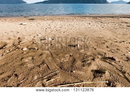 Sand in daytime at Marmaris in Turkey
